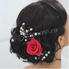 Шпильки в волосы с красной розой